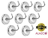8pc ALAZCO Magnetic Hook Set - 8 Lb Capacity Quality Chrome Plated For Tools, Keys. Towels, Utensils