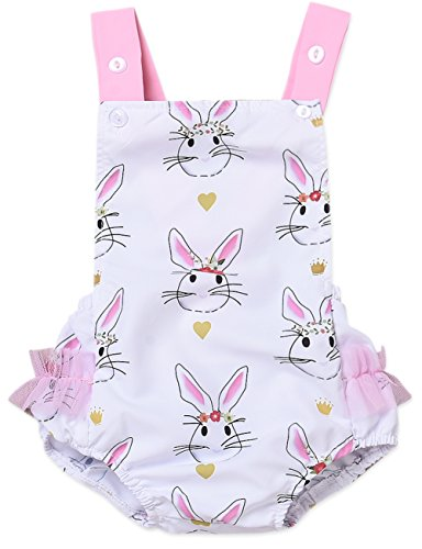 Baby Girl Easter Outfit Cartoon Bunny Sleeveless Striped Romper Bodysuit (White, 0-3 Months)