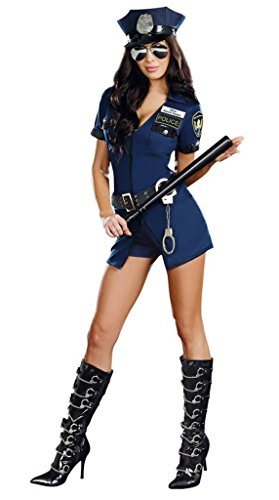 [Angcoco Cosplay Policewoman Uniform Set Costumes with Handcuffs Cap] (Policewoman Costumes)