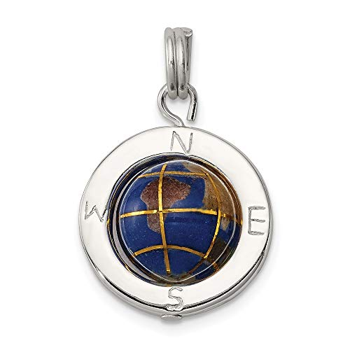 925 Sterling Silver Enameled Globe Pendant Charm Necklace Travel Transportation Man Fine Jewelry Gift For Dad Mens For Him