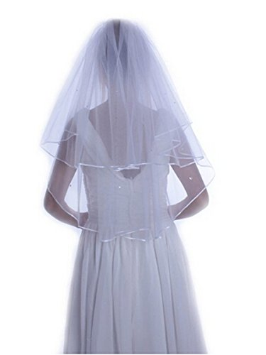 Discount Wedding Veils (GLbridal 2-tier Bridal Veil Two Layer Ribbon Edge Wedding Veil with Comb White&Ivory (White))