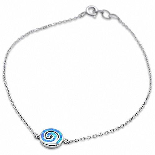 Spiral Silver Sterling Bracelet (Dainty Spiral Bracelet Swirl Created Blue Opal 925 Sterling Silver)