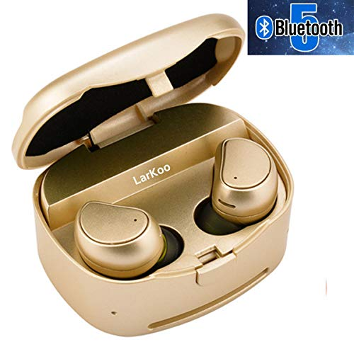 LarKoo Wireless Double Twins in-Ear Bluetooth 5.0 Earbuds Headphones with Charging Box Noise Mic Cancelling Sweatproof Earphones Headset for iOS, Android Phones, [New Update](Gold)