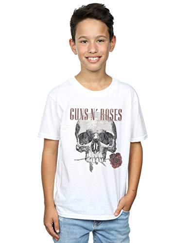 Absolute Cult Guns N Roses Boys Flower Skull T-Shirt White 9-11 Years ()