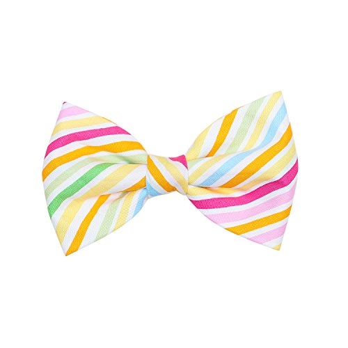 THE DOK Hot Summer Stripe – Dog Cat Pet Bow Tie Bowtie Collar Accessory 4 inch