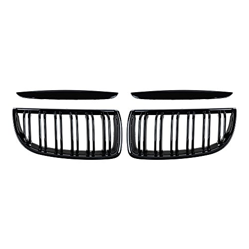 2X Euro Front Upper Kidney Grille Grill LH RH Replacement for BMW Car E90 Pre-Facelift (Glossy Black, Grille only)