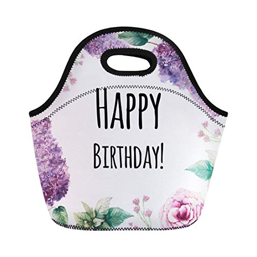 (Semtomn Lunch Bags Watercolor Garden Flowers Happy Birthday Vintage Collage Roses Lilac Neoprene Lunch Bag Lunchbox Tote Bag Portable Picnic Bag Cooler Bag)