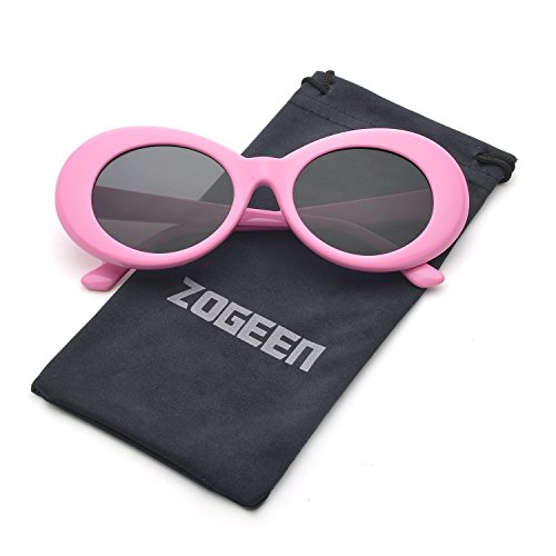 ZOGEEN Bold Retro Oval Mod Thick Frame Sunglasses Clout Goggles with Round 1212 - Frames And Black Pink Glasses