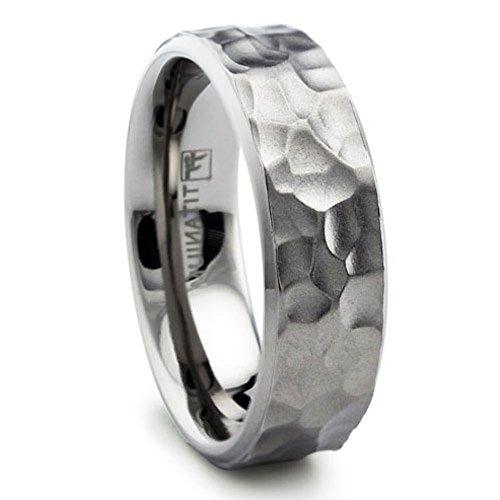 8MM Hammered Titanium Ring Wedding Band Matte Finish Sizes 8 to 13