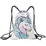 Mermaid Unicorn Drawstring Bag Reversible Sequin Girls Backpack Outdoor Glittering Shoulder Bag for Shopping Beach Hiking Travel Dance Gym One Size