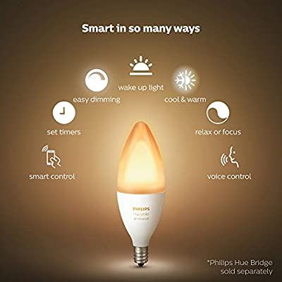 Philips Hue White Ambiance E12 Decorative Candle 6W Equivalent Dimmable LED Smart Bulb (Compatible with Amazon Alexa Apple HomeKit and Google Assistant)