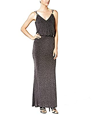 Calvin Klein Women's Shimmery Jersy Gown With Spaghetti Strap With Hardware Detail