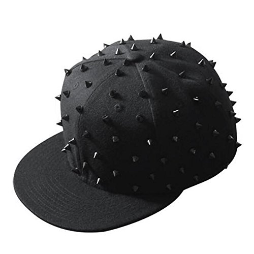 (Urchart Unisex Rivet Beanie Hat Teenage Boys Girls Women Men Punk Rock Hiphop Cap (Black Baseball))