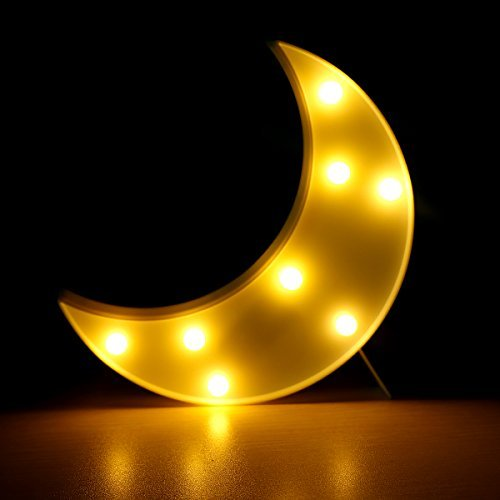 Moon shaped Night Light Marrque Moon Decorative Table Lamp Cute Lunar Sign LED Letter Lights for Party Kids Room Living Room Decor Chriatmas Birthday Gift (white moon)
