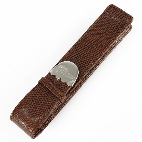 Gullor Exquisite Crocodile Original Brown Pen Case Crocodile Skin Pattern Leather Case with Single Pen