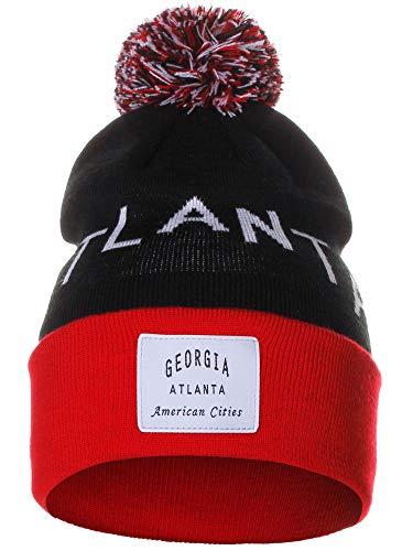 American Cities Atlanta Georgia Arch Letters Pom Pom Knit Hat Cap Beanie (Atlanta Beanie With Pom)