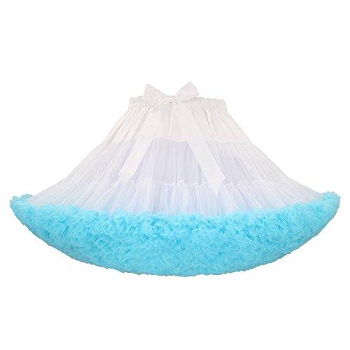 Carsten Keuler Women's and Girl's 3-Layer Fluffy Multicolored Tutu Pettiskirt Free Size (White+Light Blue) -
