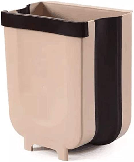 Amazon Com Qinyue Jf Kitchen Waste Bins Folding Trash Can Hanging Trash Can For Kitchen Cabinet Door Can Attached To Cabinet Door Kitchen Drawer Bedroom Dorm Room Car Waste Bin Plastic Grey White Brown Home