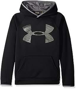 Under Armour Boys' Storm Armour Fleece Highlight Big Logo Hoodie, Black/Graphite, Youth X-Small