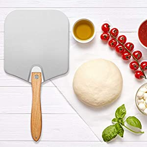Aluminum Metal Pizza Peel with Foldable Wood Handle for Easy Storage, 12 Inch x 14 Inch pizza paddle, for Baking Pizza…