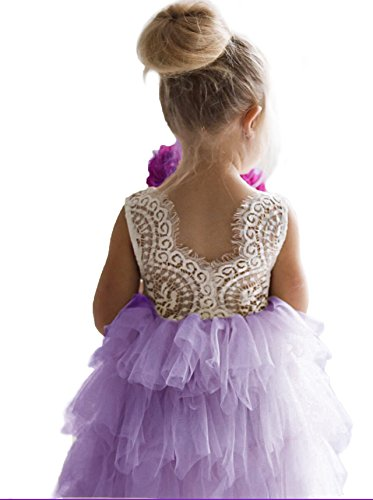 Backless A-line Lace Back Flower Girl Dress (7-8Y, Purple)