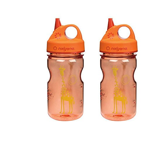 Nalgene Grip N-gulp - Nalgene Grip 'n Gulp Kids Travel Water Bottle - 12 Ounce - Orange Giraffe - 2 Pack