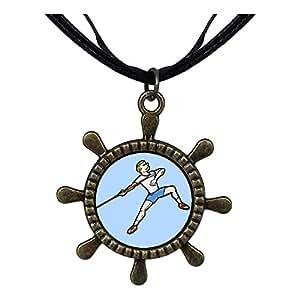 Chicforest Bronze Retro Style Olympics Athletics Men's Javelin throw posture Ship Steering Wheel Pendant