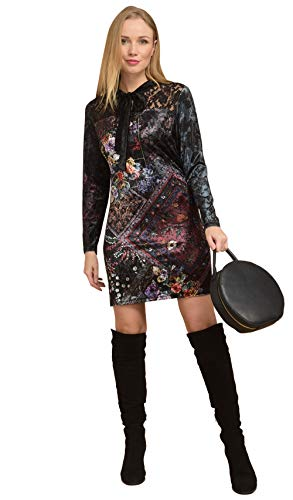 negro 101 estampado Vestido con manga estampado de Idees terciopelo larga de 8W7qvIxw7f
