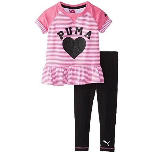 PUMA Little Girls' Dot Play Peplum Set, Knockout Pink, 2T