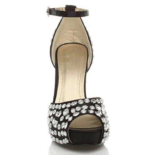 Para tobillo boda mujer sandalias mujer Gems Gem tacón plataforma talla White Correa de de Negro alto Black peeptoe zapatos rwrPFqvI7