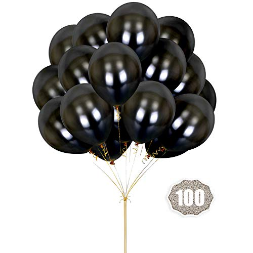 HoveBeaty Black Balloons 12 inches Thicken Latex Metallic Balloons 100 Pack for Wedding Party Baby Shower Christmas Birthday Carnival Party Decoration Supplies -