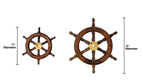 """Nautical Cove Wooden Ship Wheel 18\"""" Pirate Decor, Ships Wheel for Home, Boats, and Walls"""