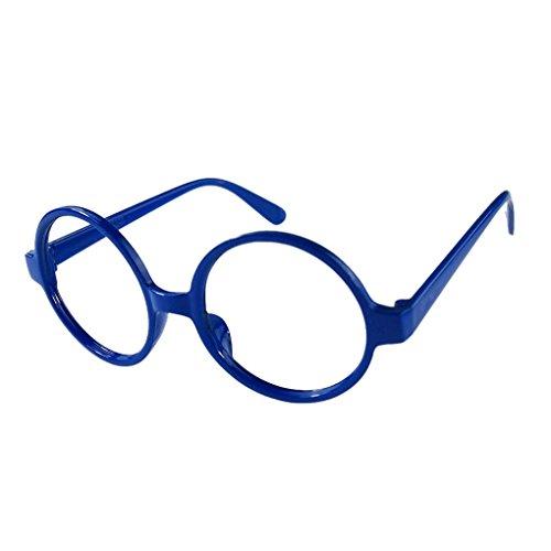 M-Egal Classic Fancy Round Frame Party Dress Big Nerd Eyeglasses Glasses Frame No Lens Blue Eyes - Glasses Frames Fancy