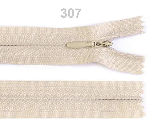 - 1pc 307 Biscotti Invisible Nylon Zipper Width 3mm Length 18 cm, Coil Closed End, Zippers, Haberdashery