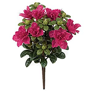 14 Inch Outdoor Azalea Bush - Polyblend UV Foliage Beauty, Fuchsia 10