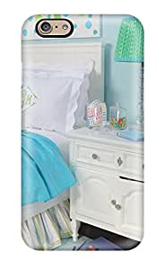 Pretty VecsscU2519UylhM Iphone 6 Case Cover/ Girls Bedroom In Bright Blue With White Nightstand And Bed With White Bedding And Whimsical Lamp Series High Quality Case