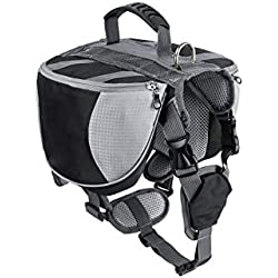 Pet-Carriers Luxury Pet Outdoor Backpack Large Dog Adjustable Saddle Bag Harness Carrier for Traveling Hiking Camping,Black,L