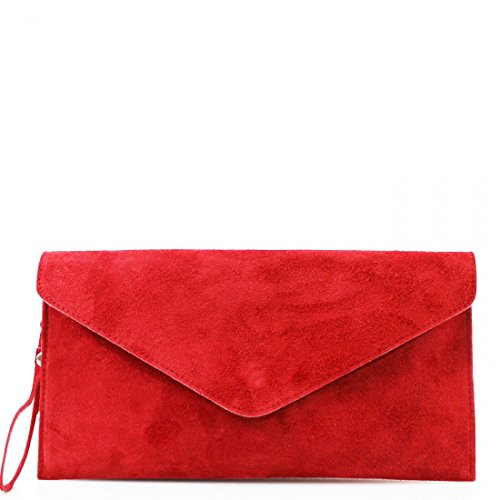 Ladies Women Real Suede Leather Envelope Chain Clutch Party Prom Evening Bag Red