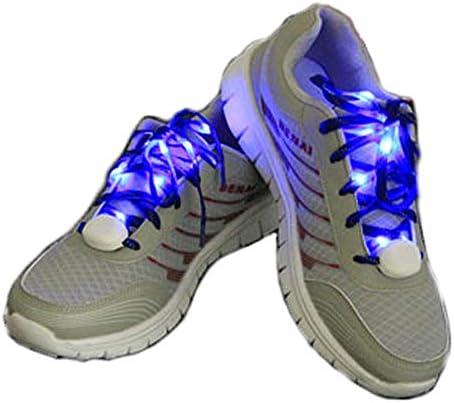 左右セット LED搭載 光る 靴ひも ブルー LED 靴紐 ナイロン シューレース フラッシュ ストリング