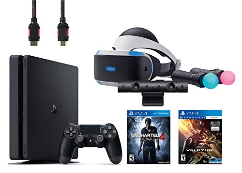 PlayStation VR Start Bundle 5 Items:VR Headset,Move Controller,PlayStation Camera Motion Sensor,PlayStation 4 Slim 500GB Console – Uncharted 4,VR Game Disc PSVR EV-Valkyrie