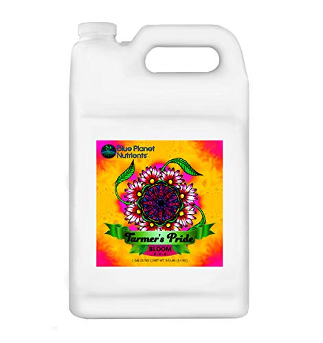 Blue Planet Nutrients Farmer's Pride Organic Blend Bloom Gallon (128 oz) | Grow Flowers, Herbs, Vegetables, Fruit | Soil Hydroponic Coco Coir Soil-Less | for All Plants and ()