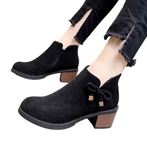 Pendant Outdoor Meridian (Women Lucky Pendant Low Cut High Heel Booties JP-DPP9 Bow Lace Up Square Heels Black)