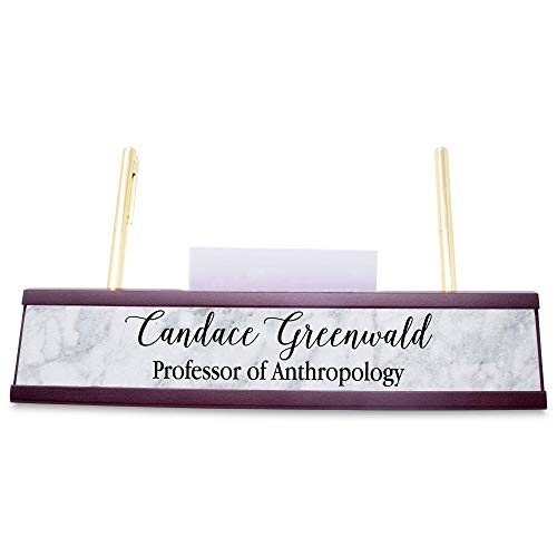 Custom Mahogany Desk Bar with Pen and Business Card Holder- Name Plate- Personalized Desk Plate (Marble)