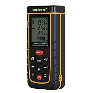 COSANSYS® Handheld Laser Distance Meter/Distance Finder with Bubble Level Rangefinder Range Finder Tape measure 40m(131ft) Black&yellow