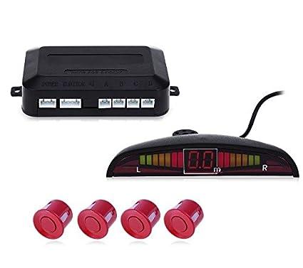 Sensor de proximidad con 4 sensores y pantalla para coche parking color rojo