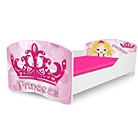Kids Twin Size Platform Bed Frame, Princess Design, Pink