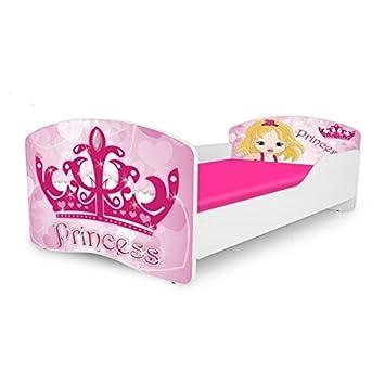 Amazon.com: Kids Twin Size Platform Bed Frame, Princess Design, Pink ...