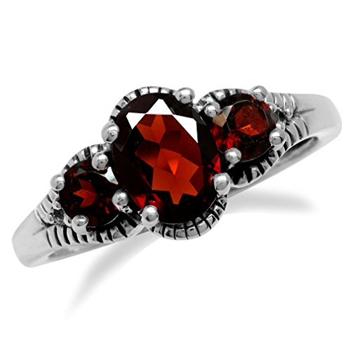 1.31ct. 3-Stone Natural Red Garnet 925 Sterling Silver w/Antique Finishing Ring Size 8
