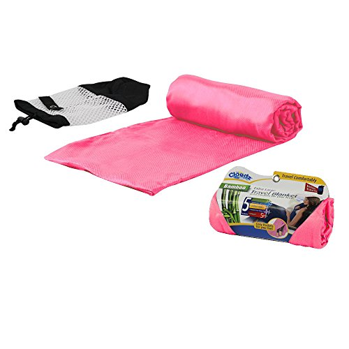 (Cloudz Bamboo Travel Blanket with Bag - Light Pink)