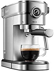 Brewsly 15 Bar Espresso Machine, Stainless Steel Compact Espresso Maker with Milk Frothing Wand, Professional Coffee Machine for Espresso, Cappuccino and Latte …